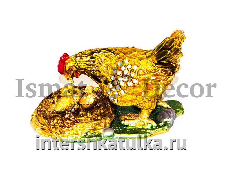 Шкатулка Курочка с цыплятами