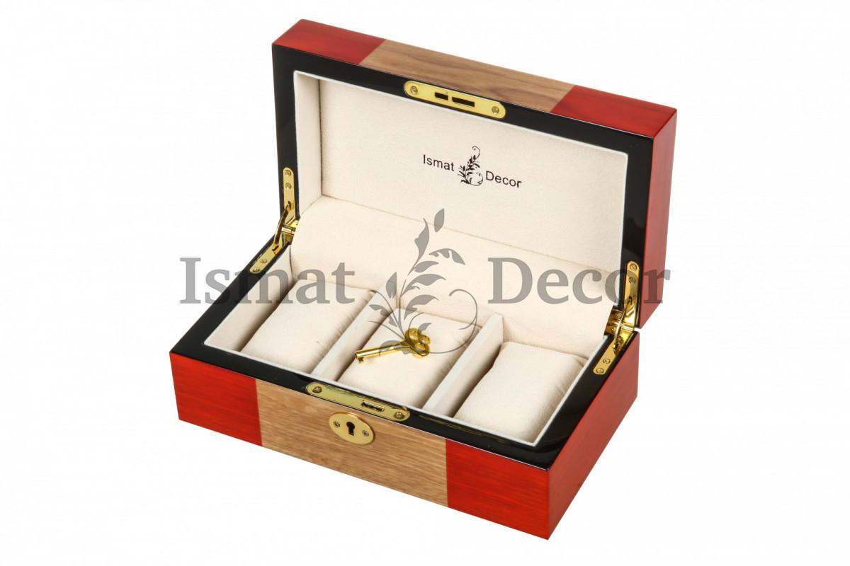 Деревянная шкатулка для украшений и часов KPW-6042 коричневый