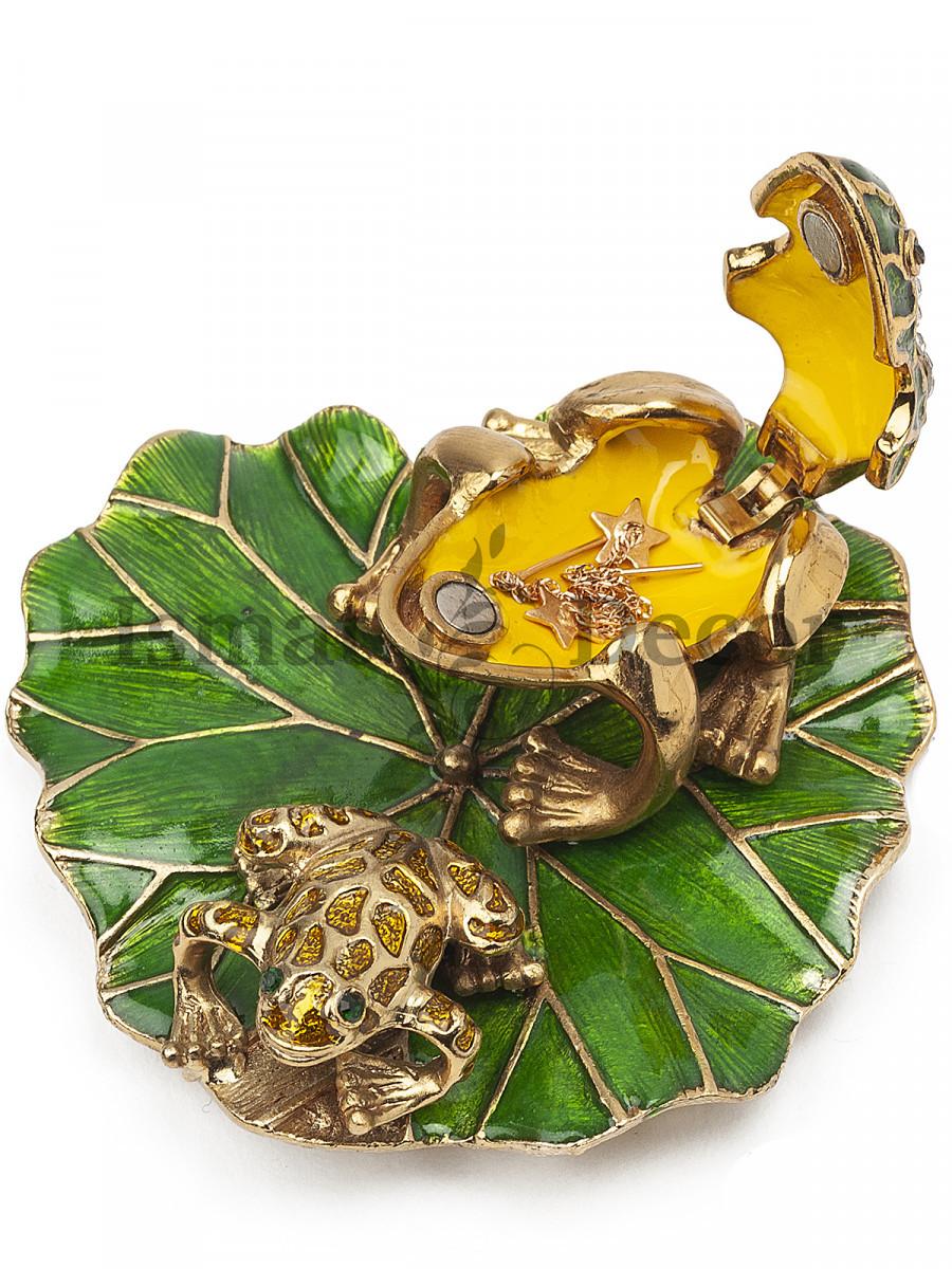 Шкатулка Лягушка на листе