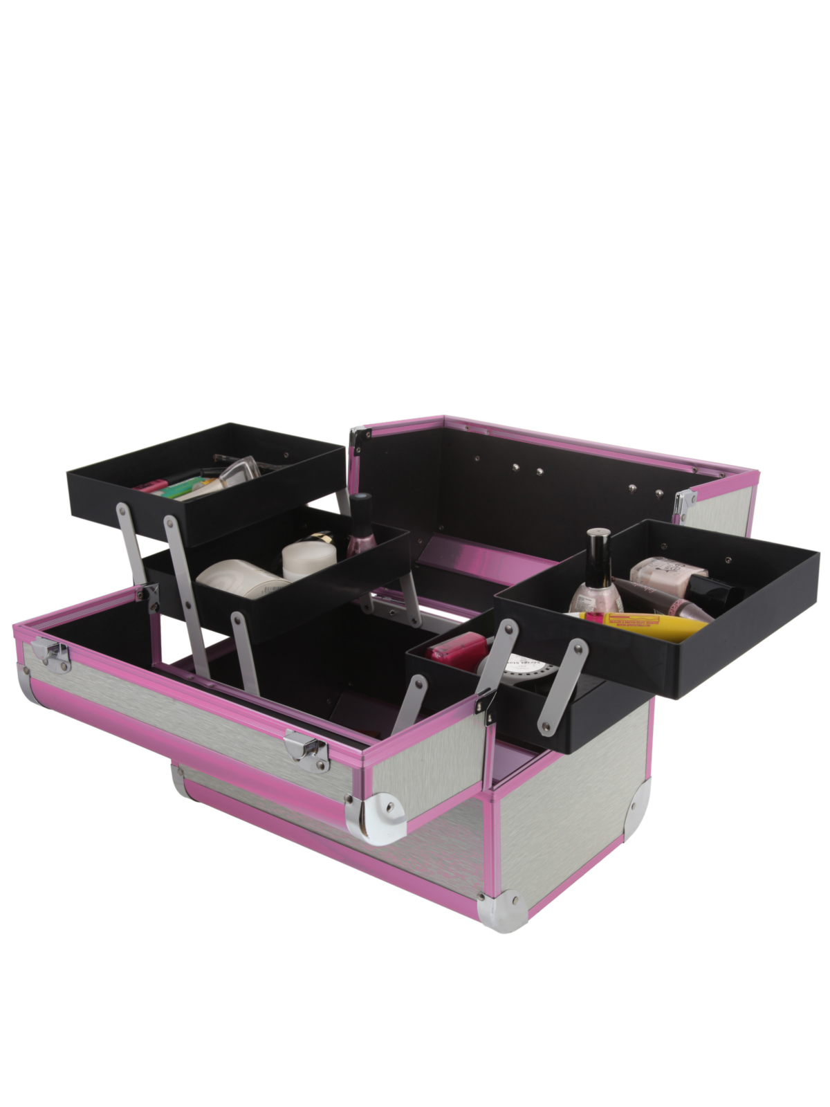 Металлический кейс для визажистов S-7364WP бело-розовый