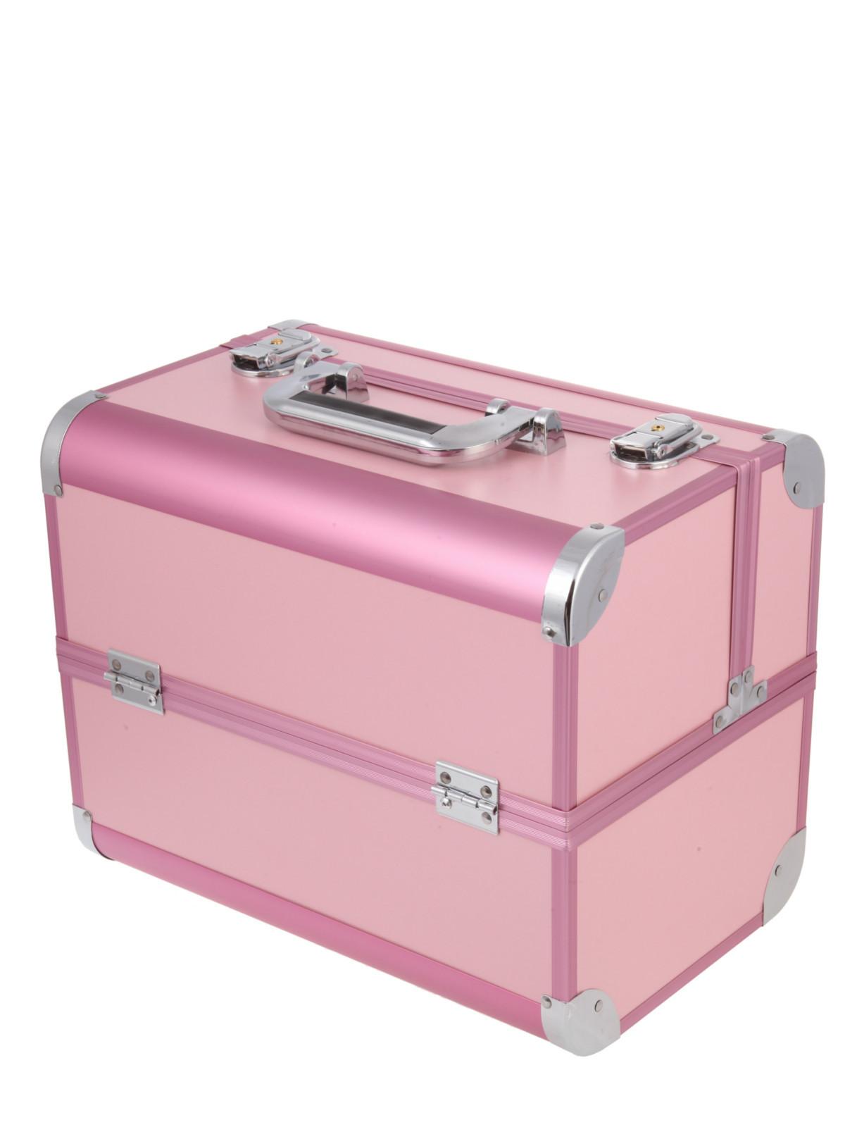 Металлический кейс для визажистов S-7364P розовый