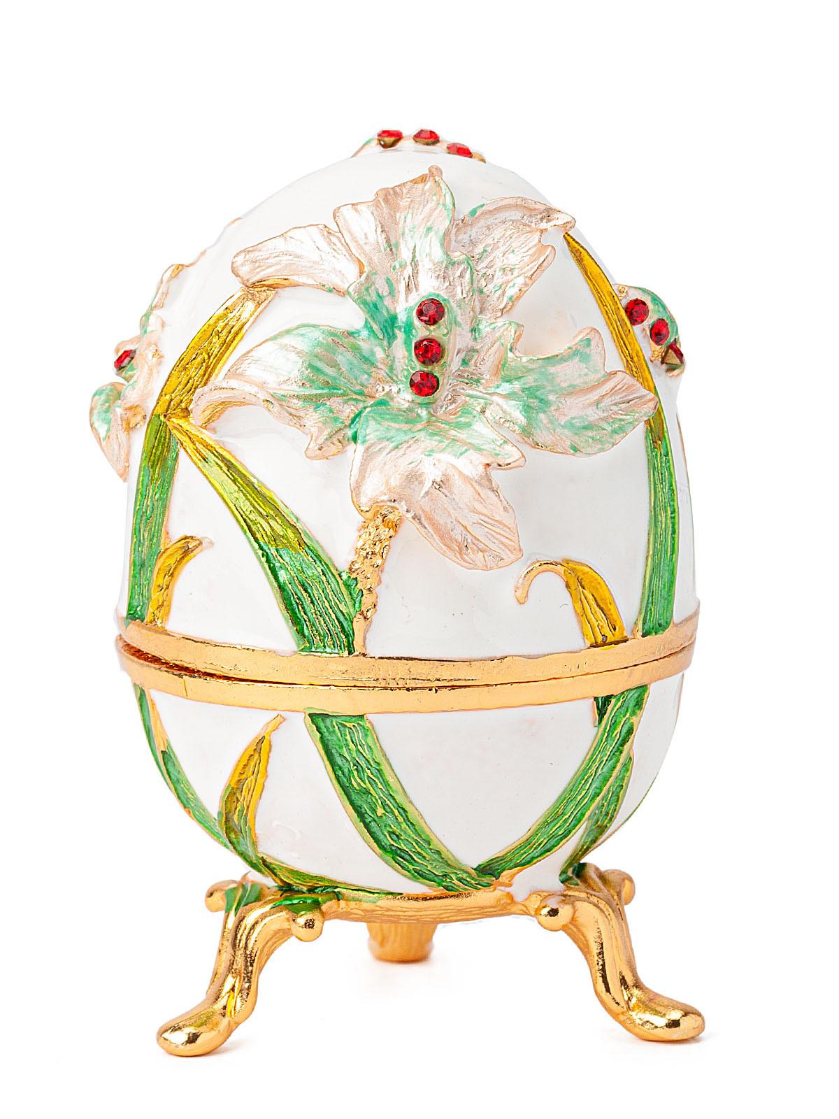 Шкатулка для украшений Яйцо Фаберже S-1524 белый