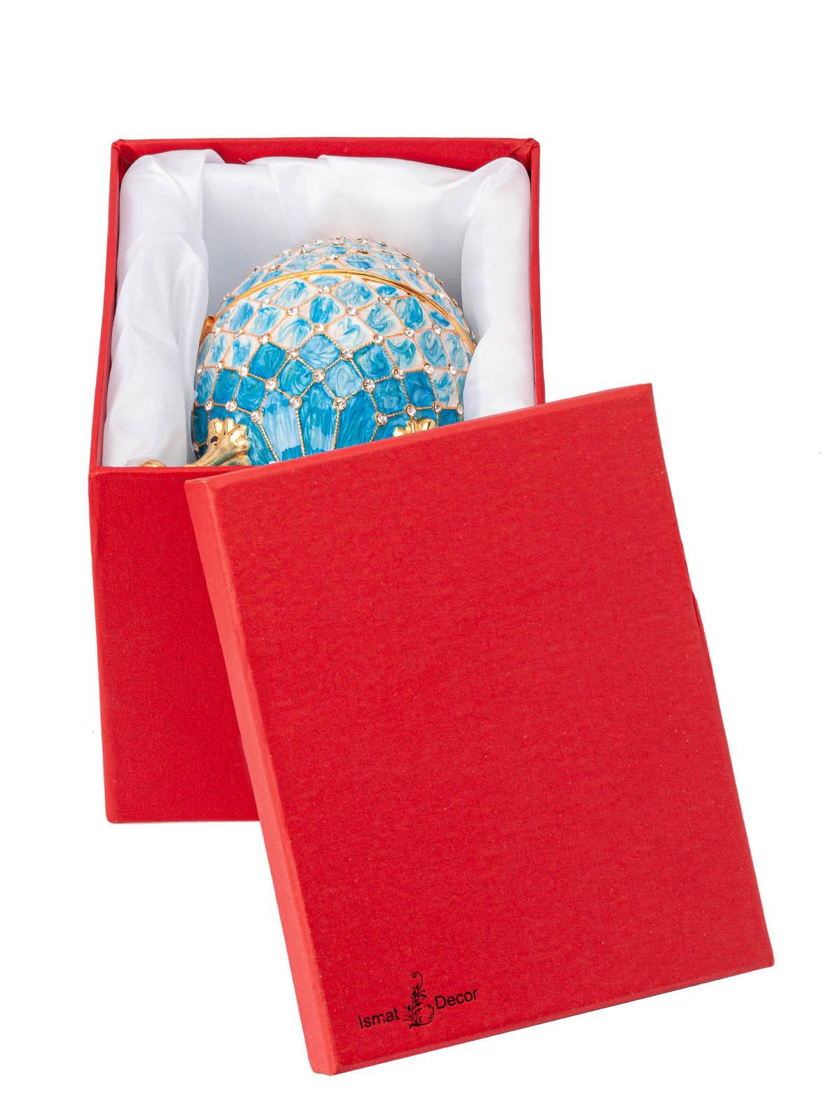Шкатулка для украшений Яйцо Фаберже S-5324 голубой