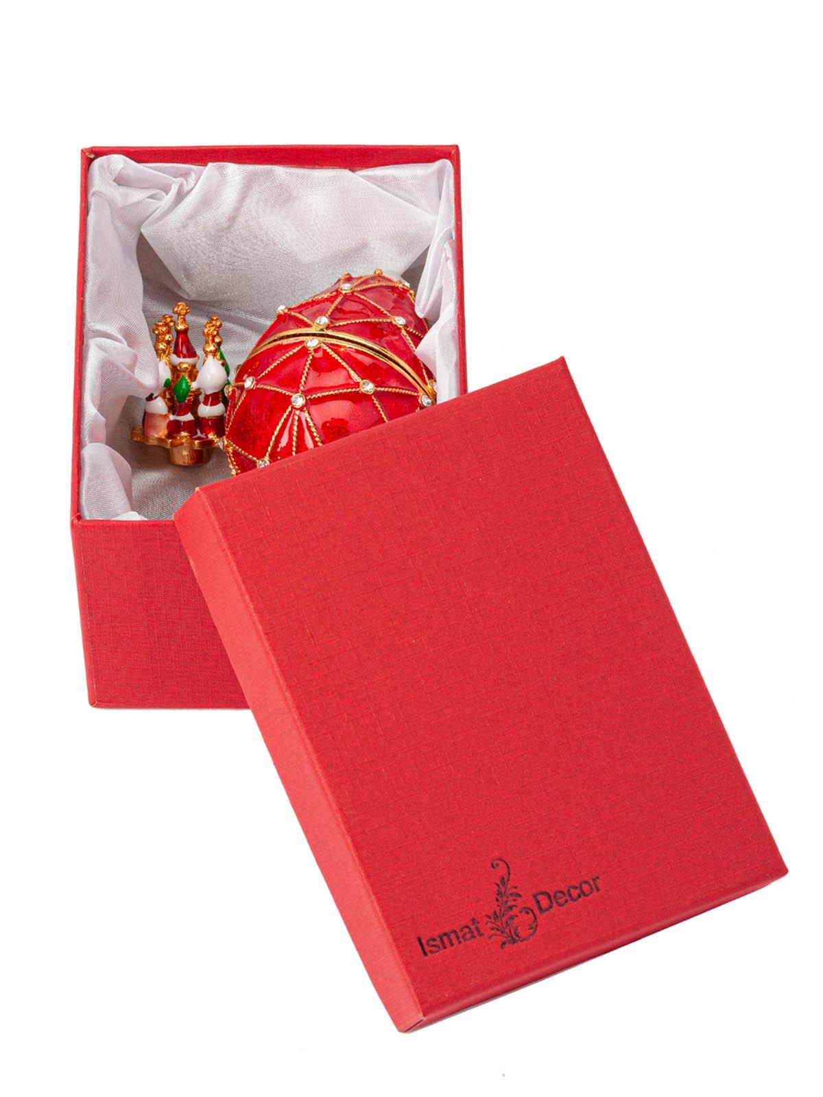 Шкатулка для украшений Яйцо Фаберже S-4443 красный