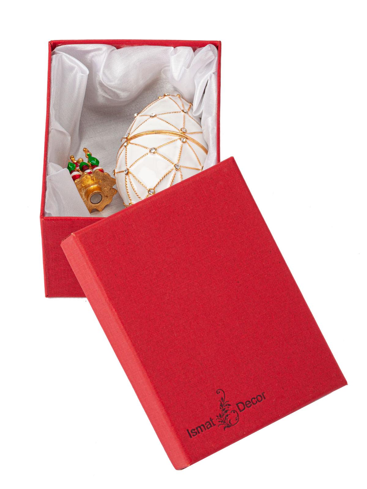 Шкатулка для украшений Яйцо Фаберже S-4443 белый