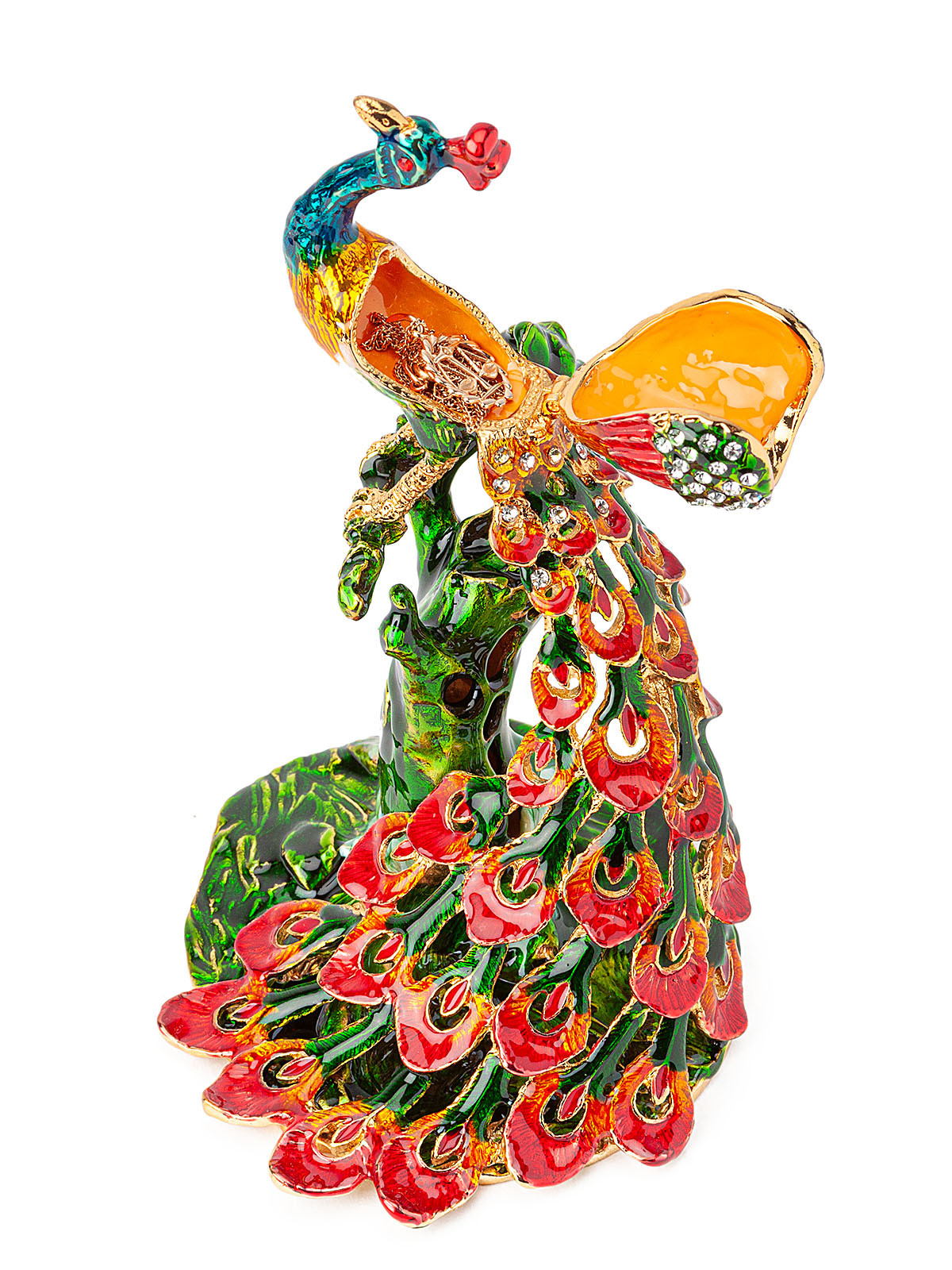 Шкатулка для украшений Павлин S-5332 зеленый