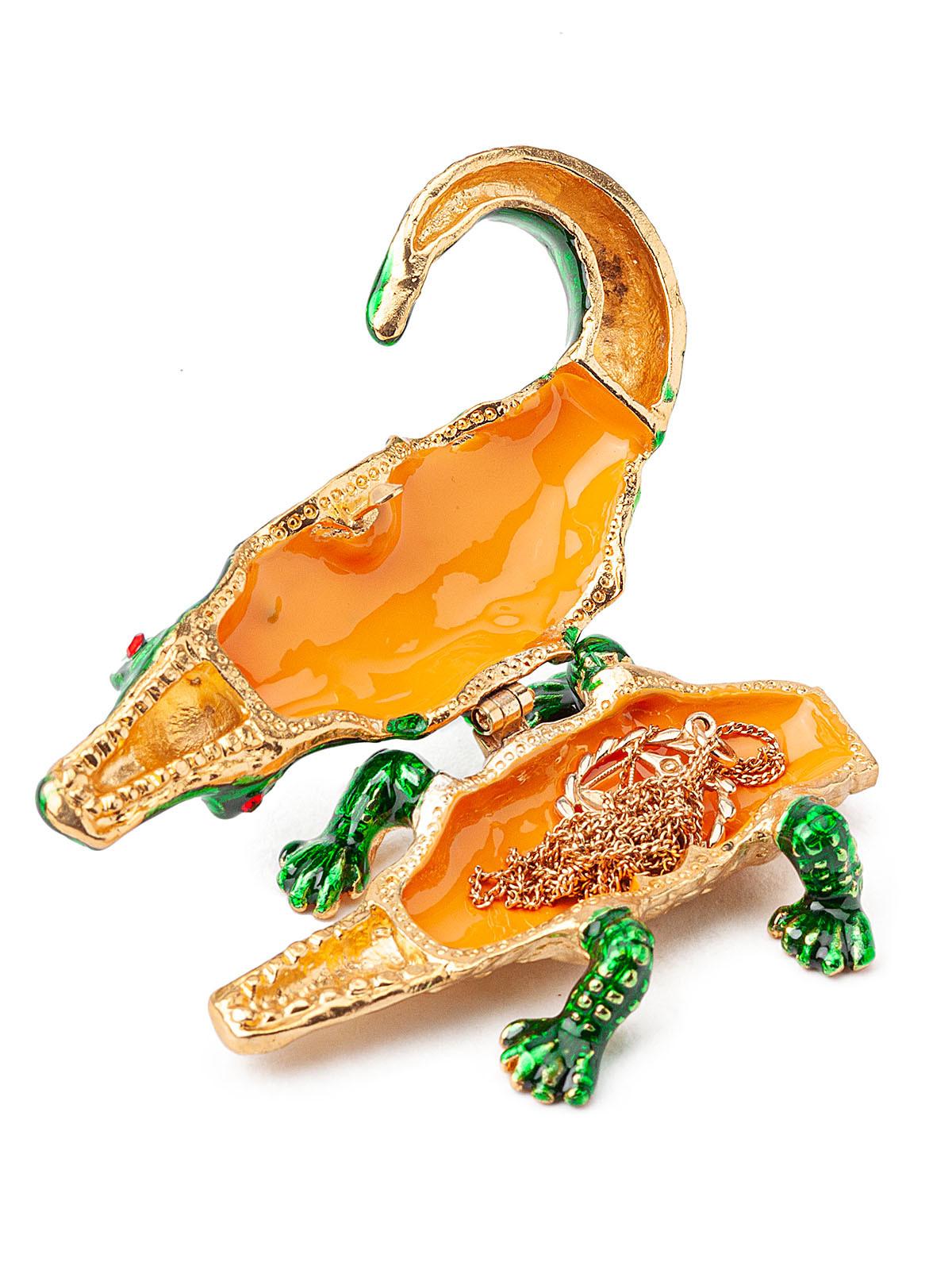 Шкатулка для украшений Крокодил S- 4711 зеленый