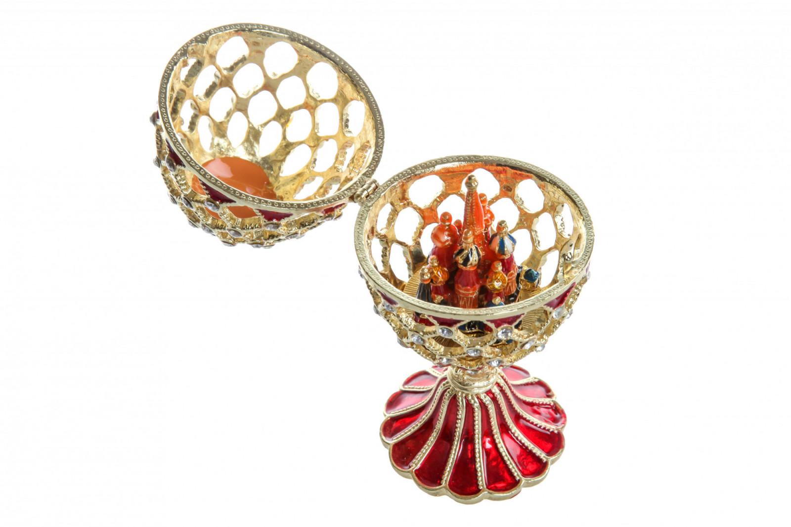 Шкатулка для украшений Яйцо Фаберже S-4456 красный