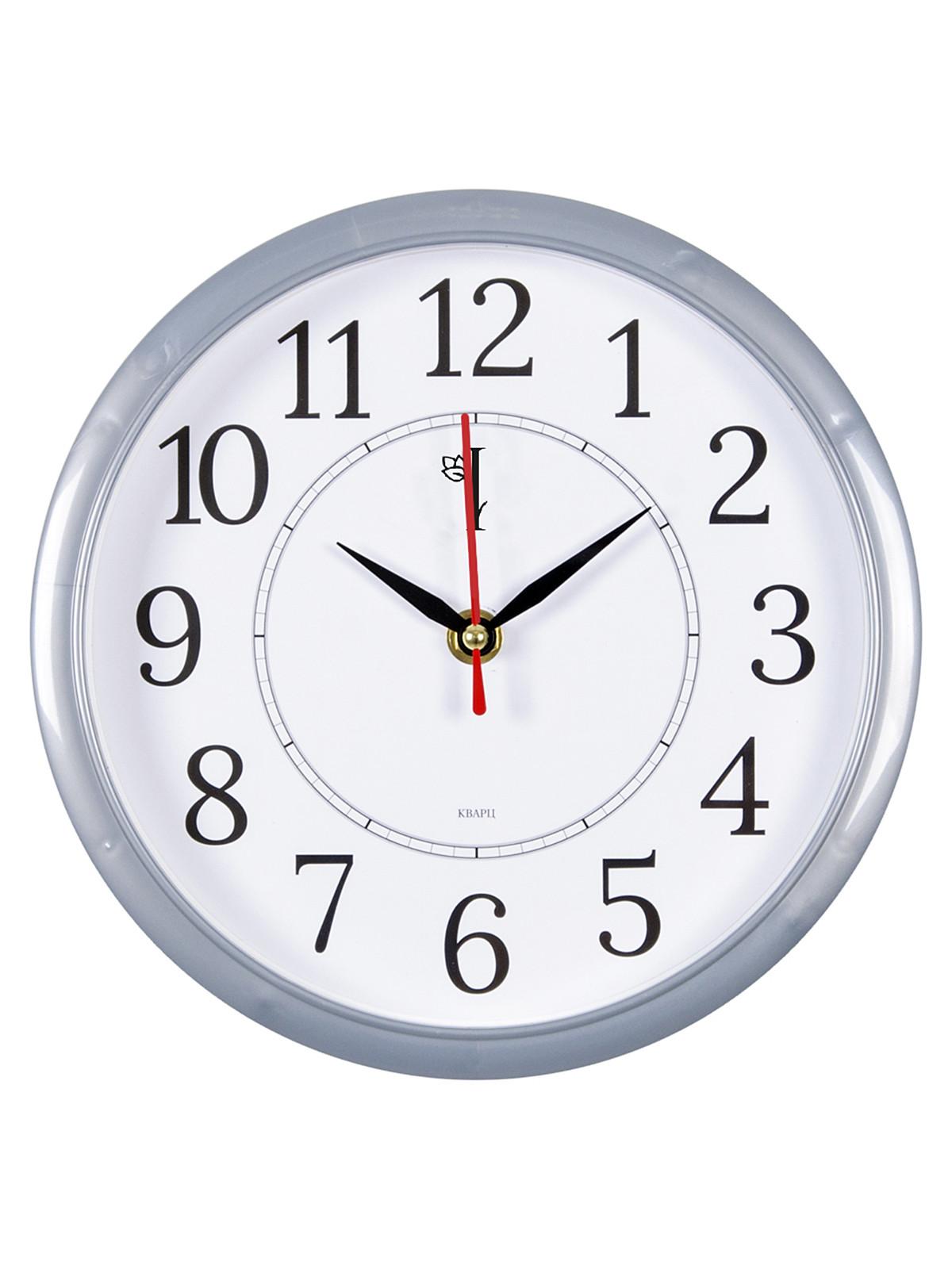 Часы настенные круг d=22см, корпус серый