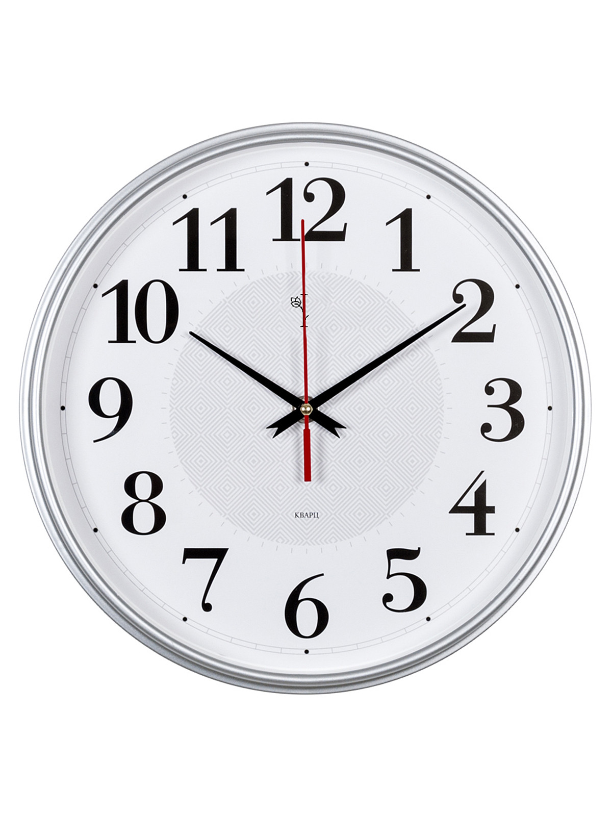 Часы настенные круг d=29см, корпус серебрянный