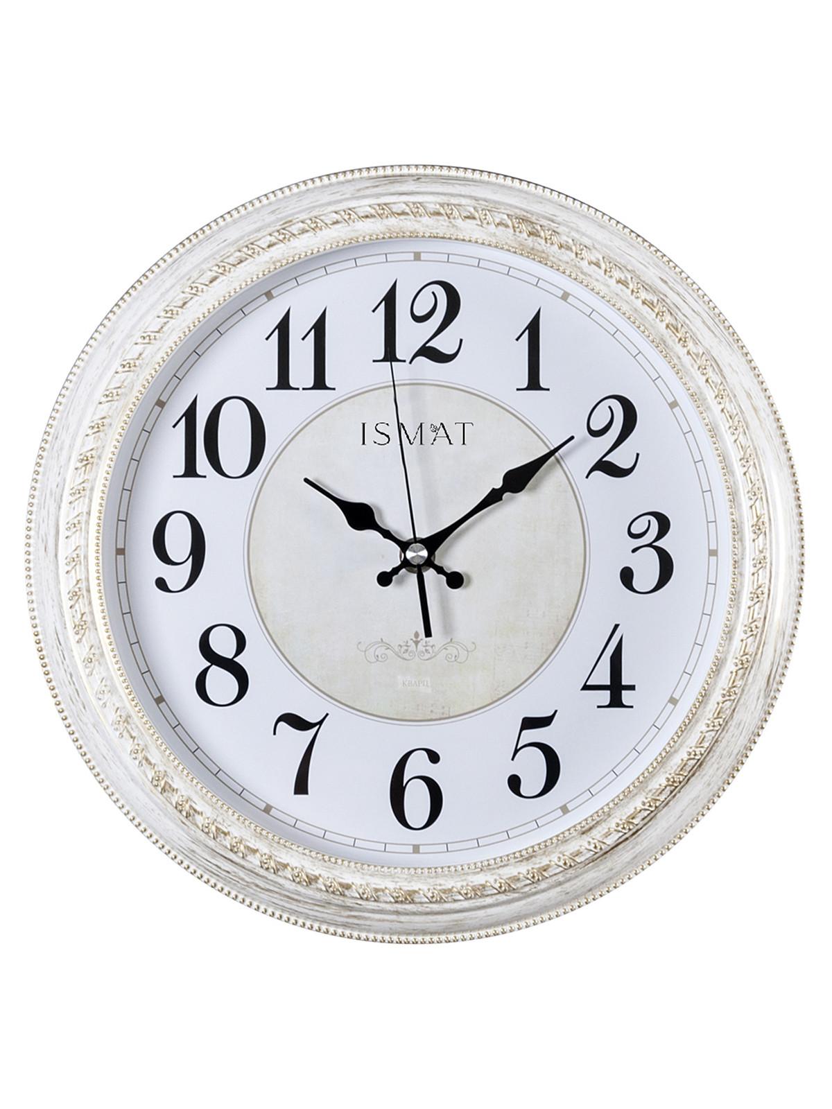 Часы настенные круг d=28,5см, корпус белый с золотом