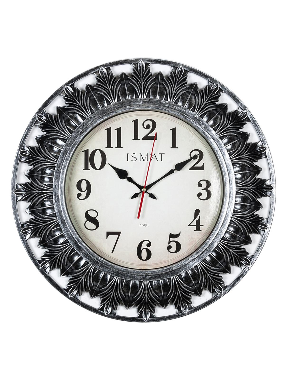 Часы настенные круг d=51 см, корпус черный с серебром