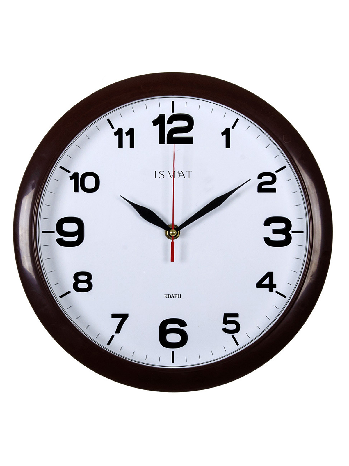 Часы настенные круг d=29см, корпус коричневый