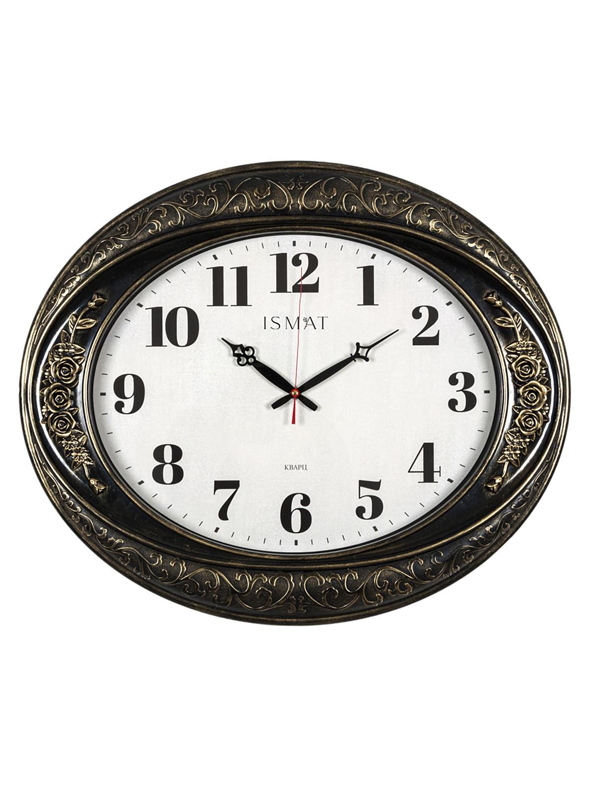 Часы настенные овал 63,5х53,5см, корпус черный с золотом